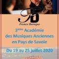 Stage de clavecin, flûte à bec, chant, violoncelle. Académie de musique baroque en Pays de Savoie (du 19 au 25 juillet 2020)